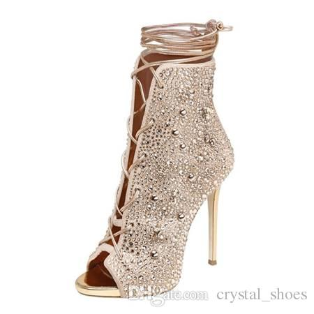Fashions Rhinestone Peep Toe Shoes Women High heels Stiletto Heel Gladiator Sandals Boots Ladies Crystal Lace Up ankle booties