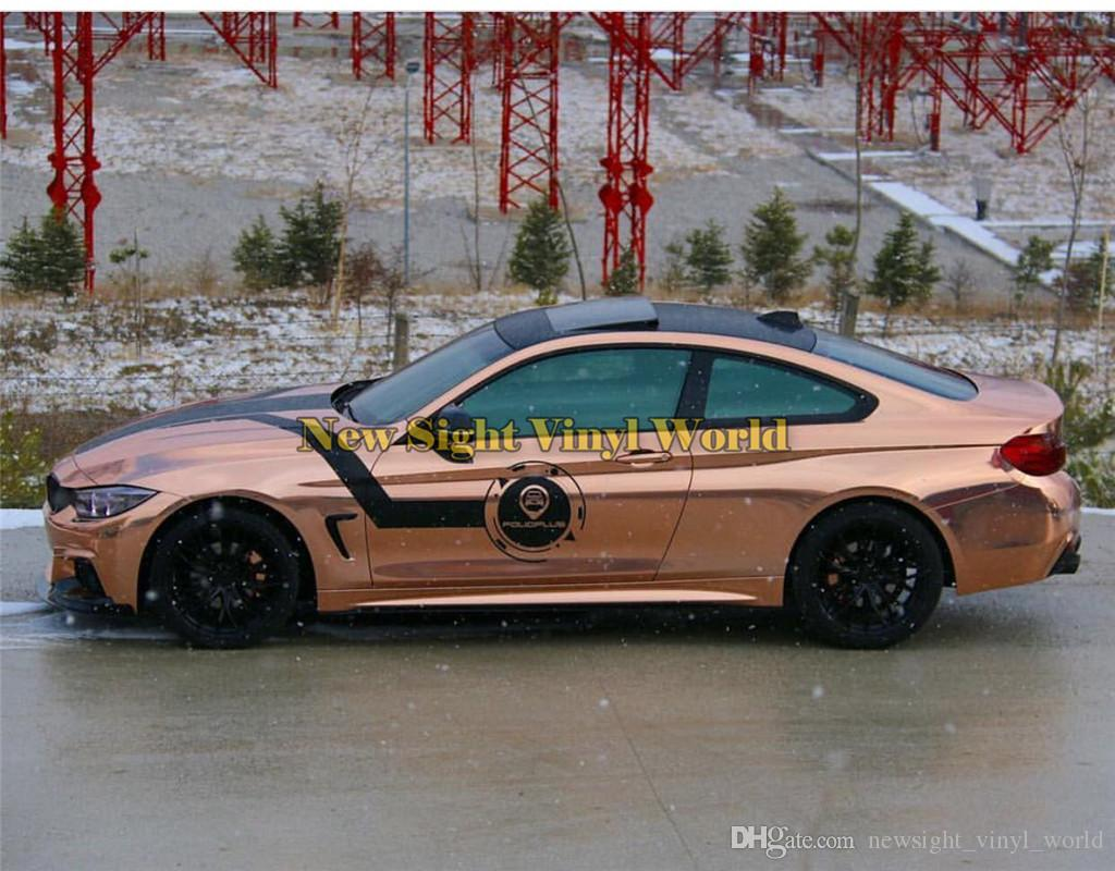Best Quality Stretchable Mirror Rose Gold Chrome Vinyl Wrap Film Foil Sticker For Car Wrapping Air Bubble Free