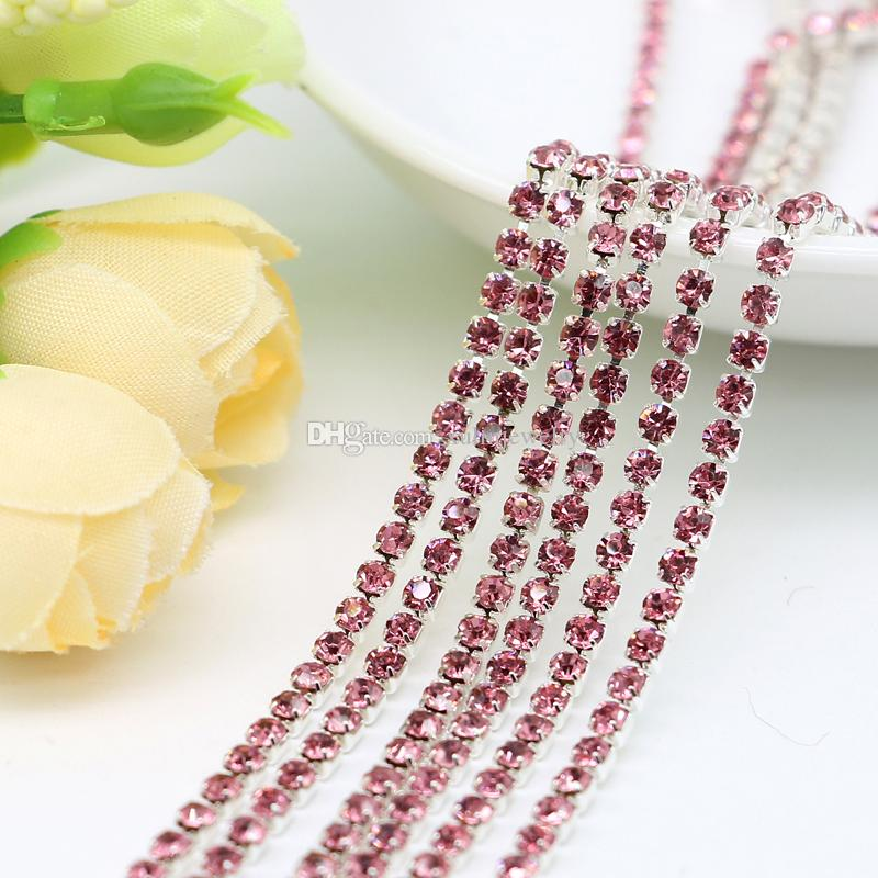 SS6.5-SS12 Rose Crystal Rhinestone Closed Cup Chain Plated Silver Base  Metal Sold By 10Meters Pack Crystal Rhinestone Closed Cup Chain Cup Chain  Crystal Cup ... d7b0498bddf8