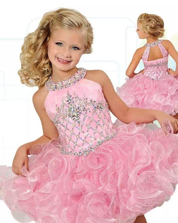 2020 Glitz Cupcake Girls Pageant Dresses Pink Organza Ruffles Flower Girls Dress Fashionable Birthday Party Mini Beaded Crystal Ball Gowns
