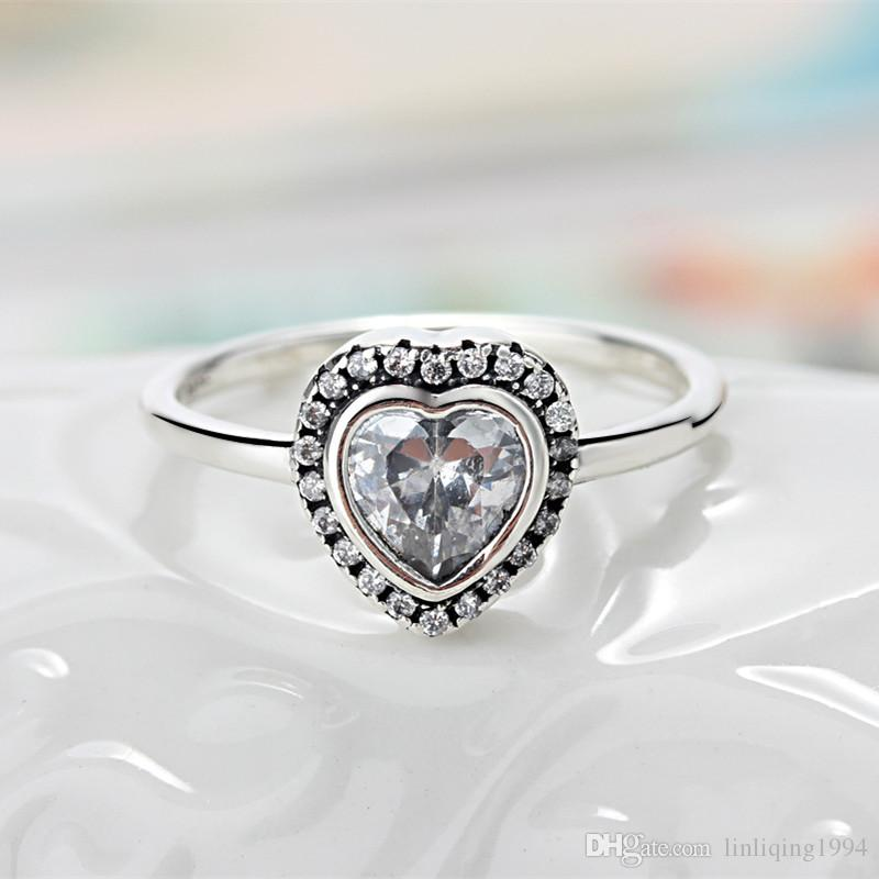 6b61d24cc ... top quality 2018 original 925 sterling silver heart shaped zircon fit pandora  ring for women from