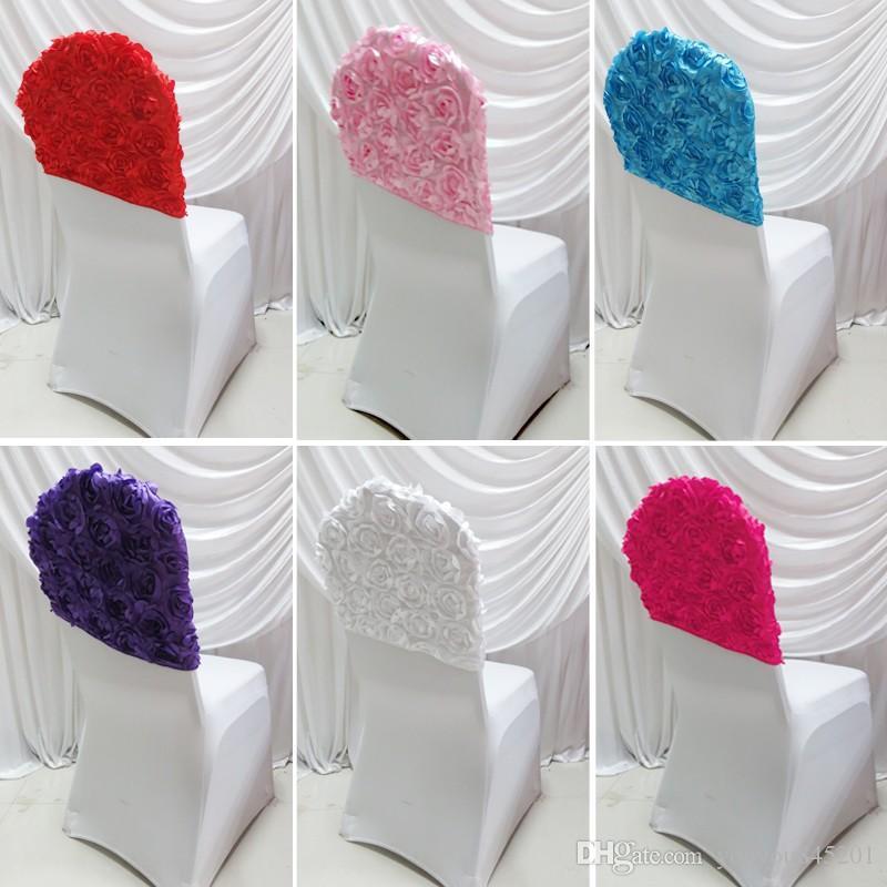 Livraison gratuite Hot Top Vente Lien - 6 couleurs lycra Housse de chaise avec Rosette satin à l'arrière pour décoration de mariage