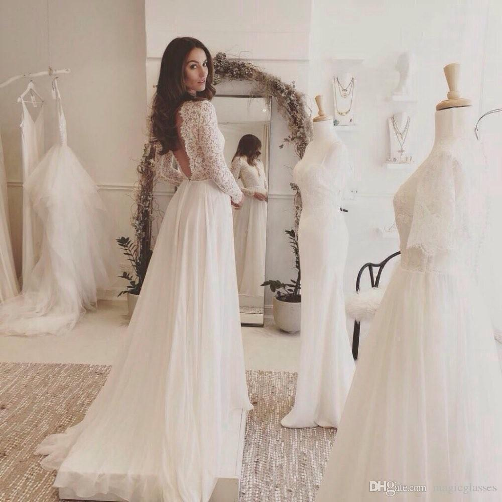 2017 Charming Lace Chiffon Beach Wedding Dresses Long Sleeves Sweep Train Backless Country Bridal Gowns Deep V Neck Custom Cheap
