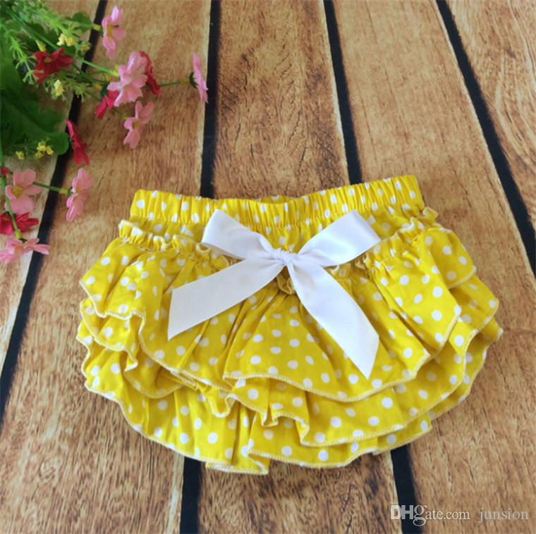 2018 Hot Sale Baby Pants Girls Printed Dot PP Pants New Arrival Ruffle Satin Panties Briefs Diaper Cover Pant 0-24m