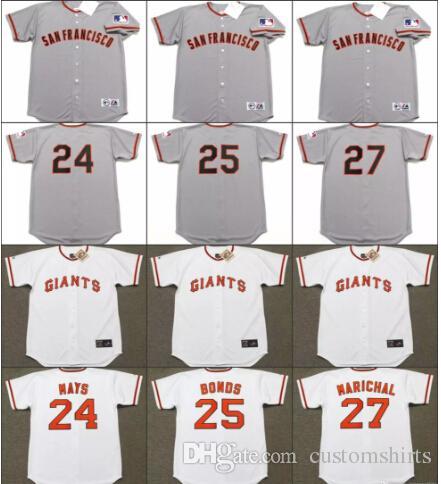 5300a4d53 ... 2017 Men 24 Willie Mays 25 Bobby Bonds 27 Juan Marichal 25 Barry Bonds  San Francisco Vintage San Francisco Giants Baseball Jersey ...