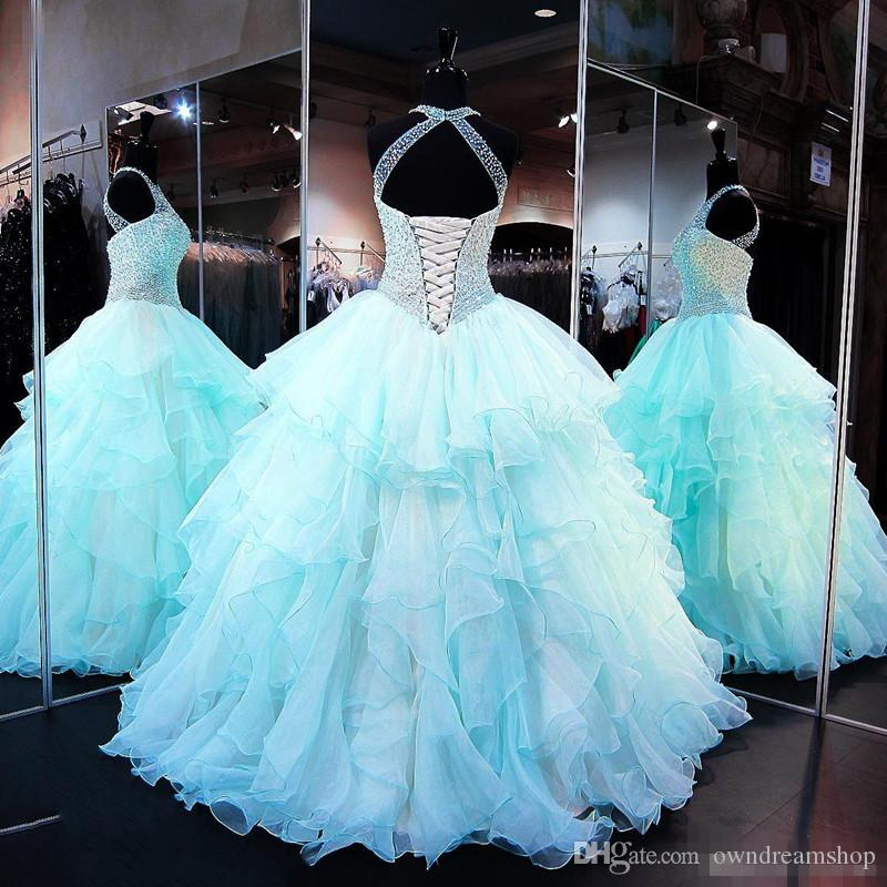 .Ruffled Organza Skirt with Pearl Beaded Bodice Quinceanera Dresses 2017 High Neck Sleeveless Lace up Cups Matching Bolero Prom Ball Gown
