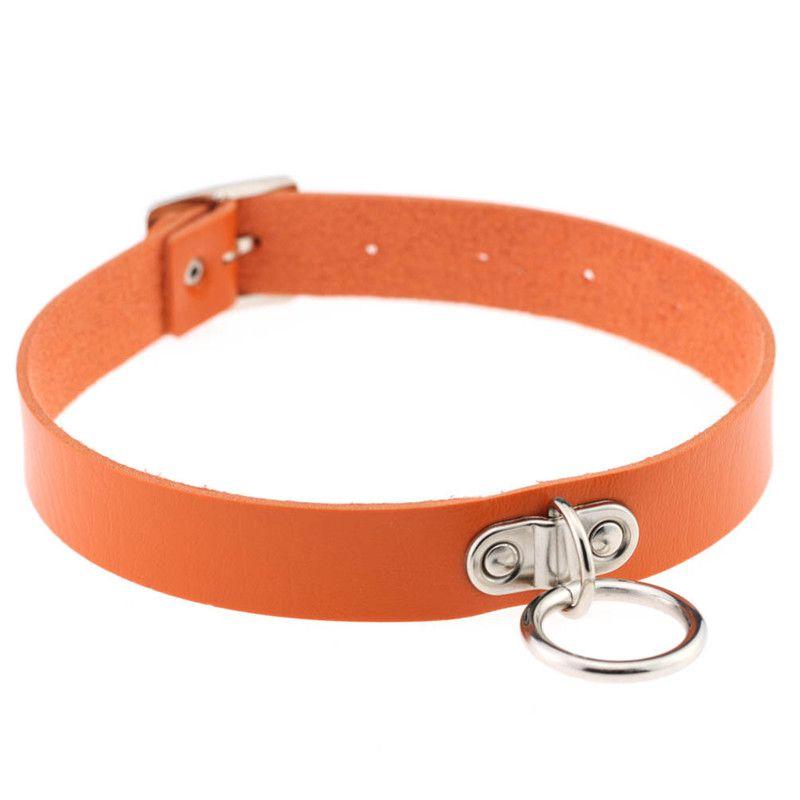 Nouveau charme de la mode - Collier imitation cuir punk multicolore exagéré en métal collier de serrure concentrique rond Collier fille 161827