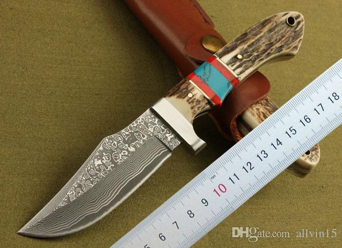 Promotion Damascus Survival Straight Knife Antler Handle Outdoor Camping Hiking Hunting Fishing Fixed Blade Knives With Leather Sheath