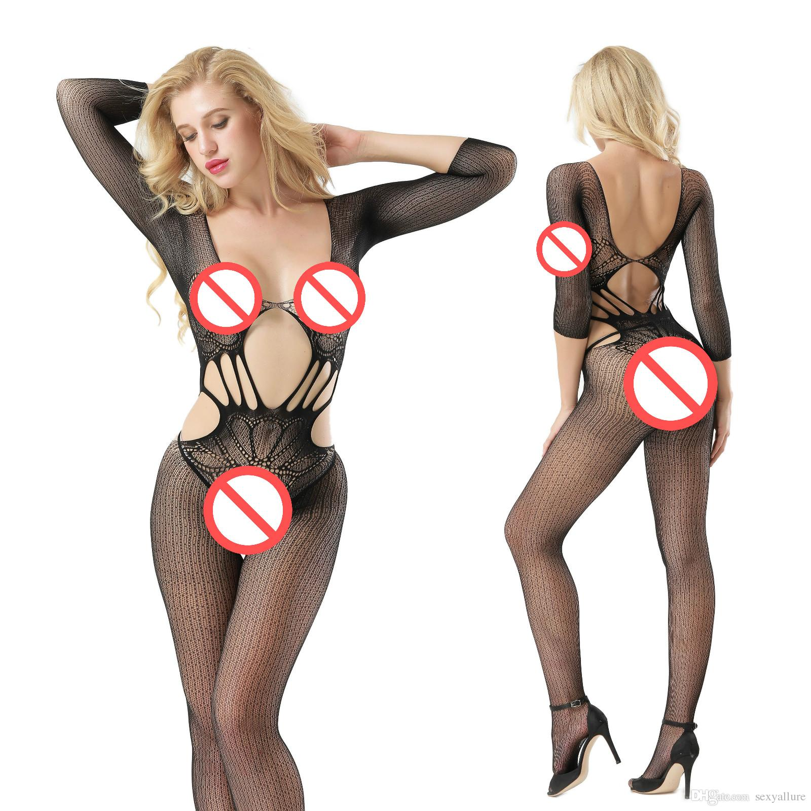 Fetish Punk Off The Shoulder Hollow Out Jacquard Half Sleeve Open Crotch Bodystockings Body Stocking Jumpsuit Disco Costume
