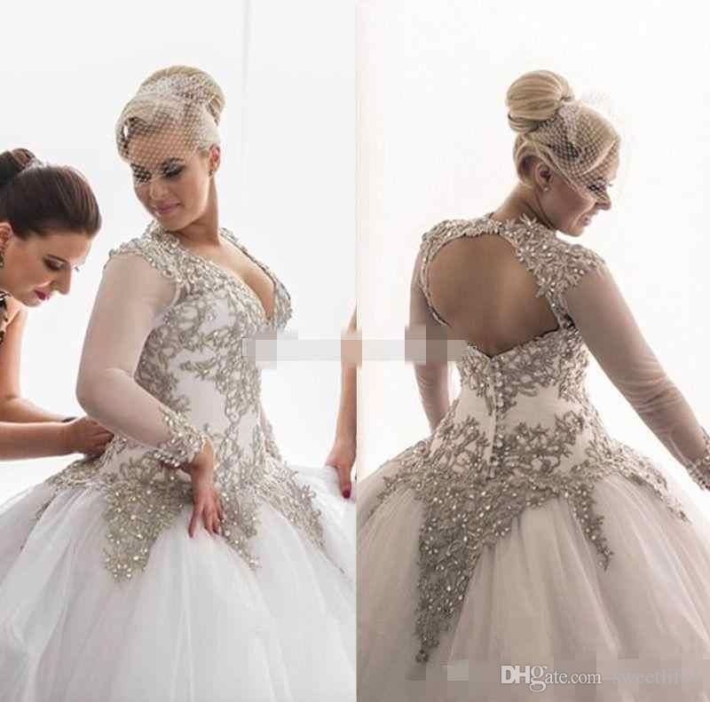 Plus Size 2017 Modest Long Sleeves Wedding Dresses Rhinestones Crystals Beaded Bridal Gowns Backless Sheer Ball Gown Wedding Dresses