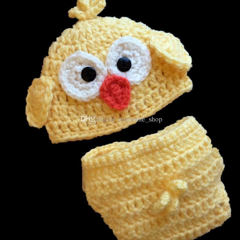 Traje de pollito adorable recién nacido, crochet hecho a mano bebé niño niña amarillo animal sombrero y conjunto de cubierta de pañal, Fotografía infantil Prop
