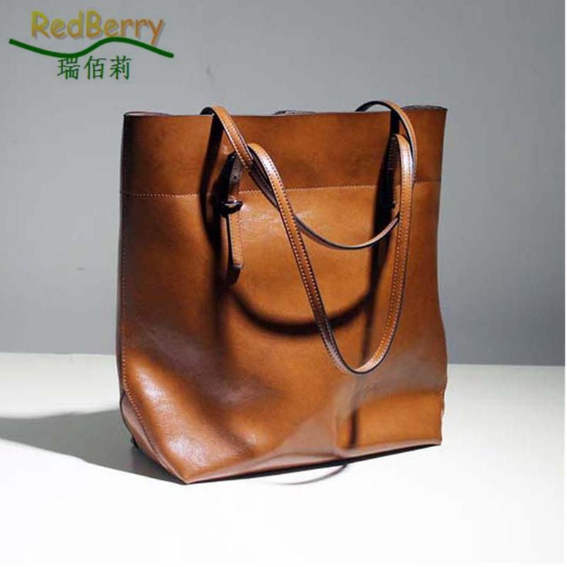 df0185f65d Genuine Leather Ladies Bag New Style Oil Wax Women Handbag Fashion 2015 Women  Leather Handbag Joker Shoulder Bag Big Tote Fashion Handbags Large Handbags  ...
