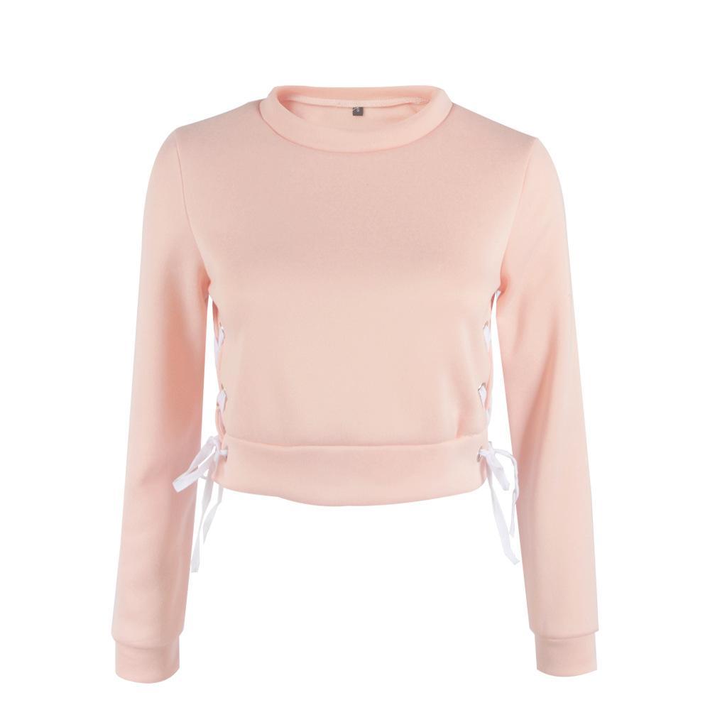 2017 otoño chándal sudadera con capucha sudadera lateral cruzada manga larga rosa gris jerseys cortos moda sportwear mujeres ropa casual