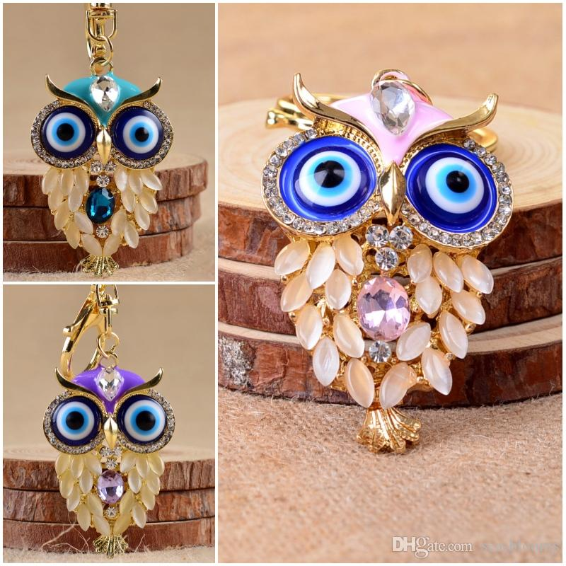 Rhinestone Pretty Owl Nighthawk Keychain Key Ring Lovely Key Chain Girly Hostess Gift For Girl Women 4 Styles C3L