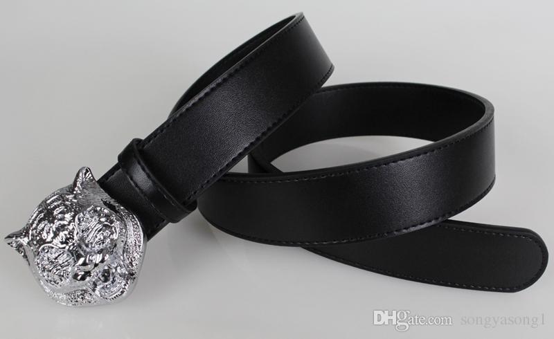 Top Quality Mens Designer Mens Tiger Head Face Pattern Men's Smooth Buckle Man Belts Cowskin Leather Belt for Men