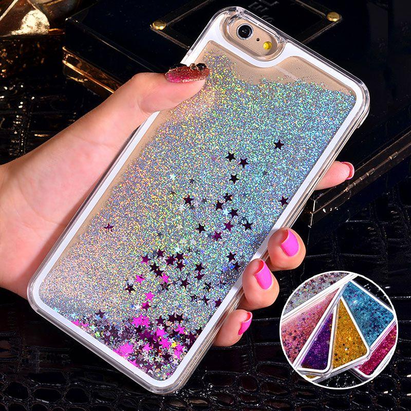 b26bd23e68e Fundas Celulares Estuche Rígido Para IPhone 6S Glitter Bling Liquid Sand  Star Quicksand Claro Estuche Rígido Para IPhone 7 6 Plus 4 4S 5C 5S Fundas  Para Por ...