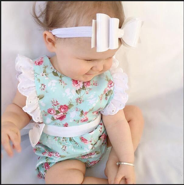 baby lace bodysuit 2017 New Floral Girls babies romper Cute Flower Printed Ruffle Toddler Jumpsuit ruffle sleeve Infant Onesies 7711
