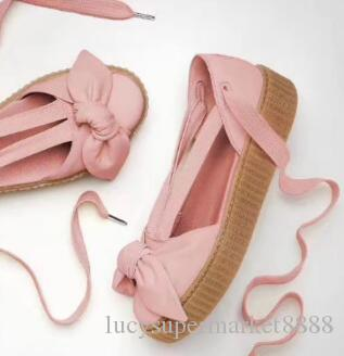low priced 03e1b 25bc7 2018 NEW RIHANNA LEADCAT FENTY BOW heart satin Slides outdoor Girls Fashion  pink white Brown Khaki WOMEN S Sandals with box