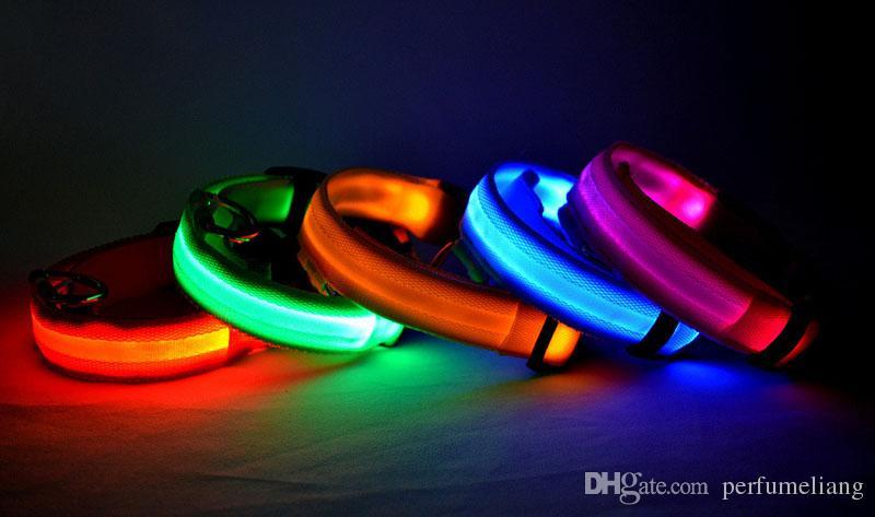 Nylon Haustier LED Hundehalsband Leuchtende Nacht Halten Hund Sicherheit Einstellbare Blinkende Leuchten LED Pet Supplies Großhandel ZA3759