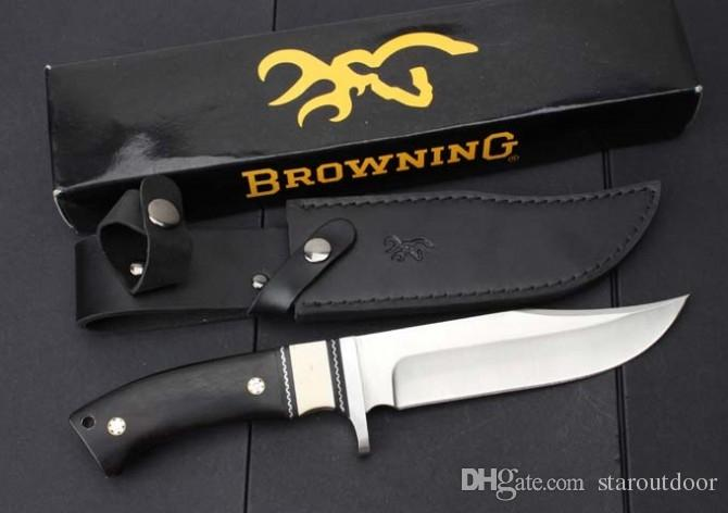 NEW Browning Bowie Fixed Blade Knife Full Tang Ebony Wood Tactical Camping Hunting Survival Pocket Knife Military EDC Tool Xmas Collection