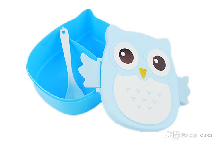 Kawaii Candy Color Owl Lunch Box Microwave Oven Bento Container Case Dinnerware Children's Birthday Gift