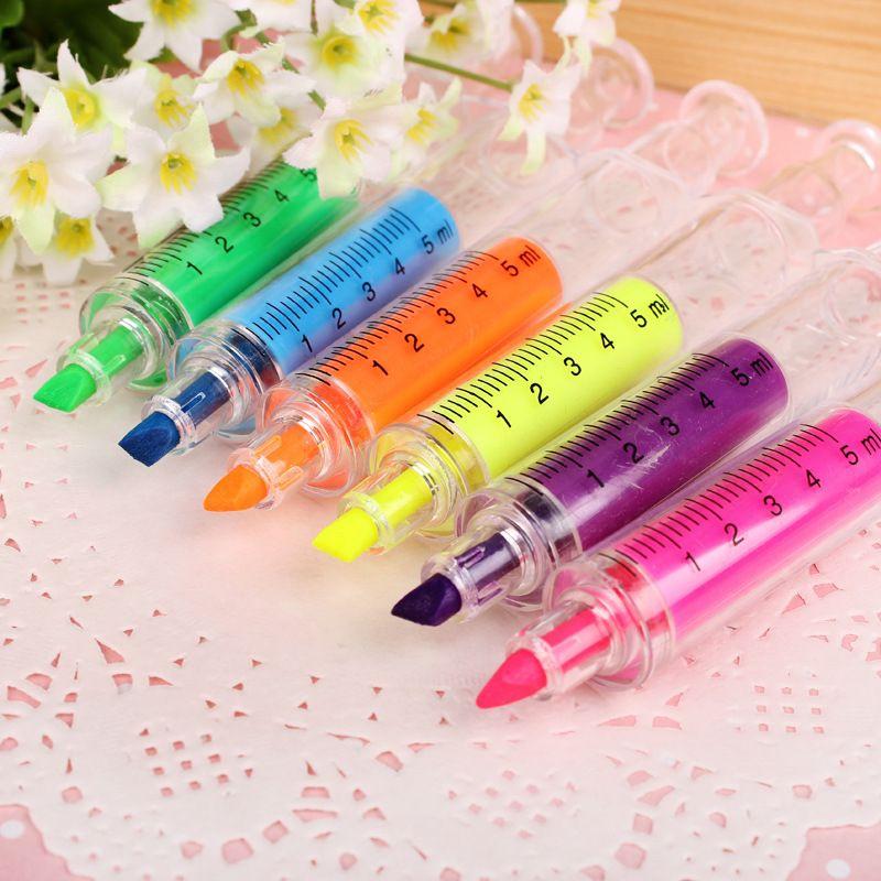 Lindo Kawaii fluorescente jeringa acuarelas plumas Highlighters Marker Pen suministros de escritorio de la escuela coreana