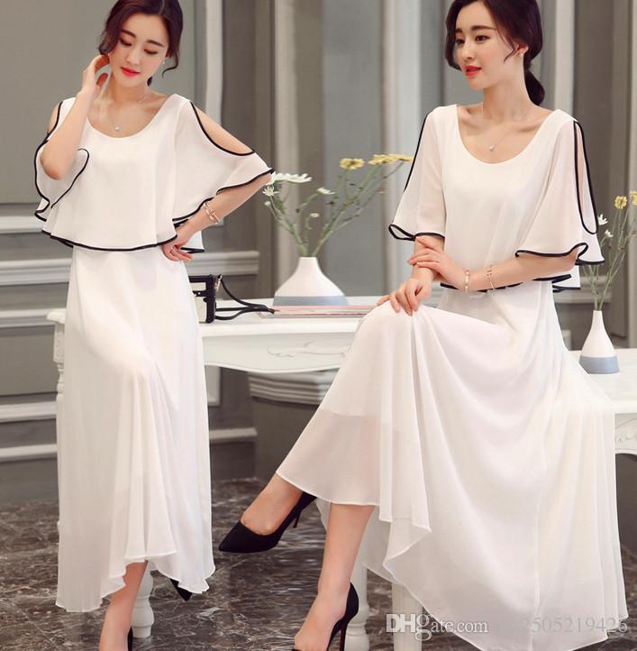 Новая женская корейская версия самосовершенствование без бретелек длинное платье листьев лотоса шифоновое платье рукава лето