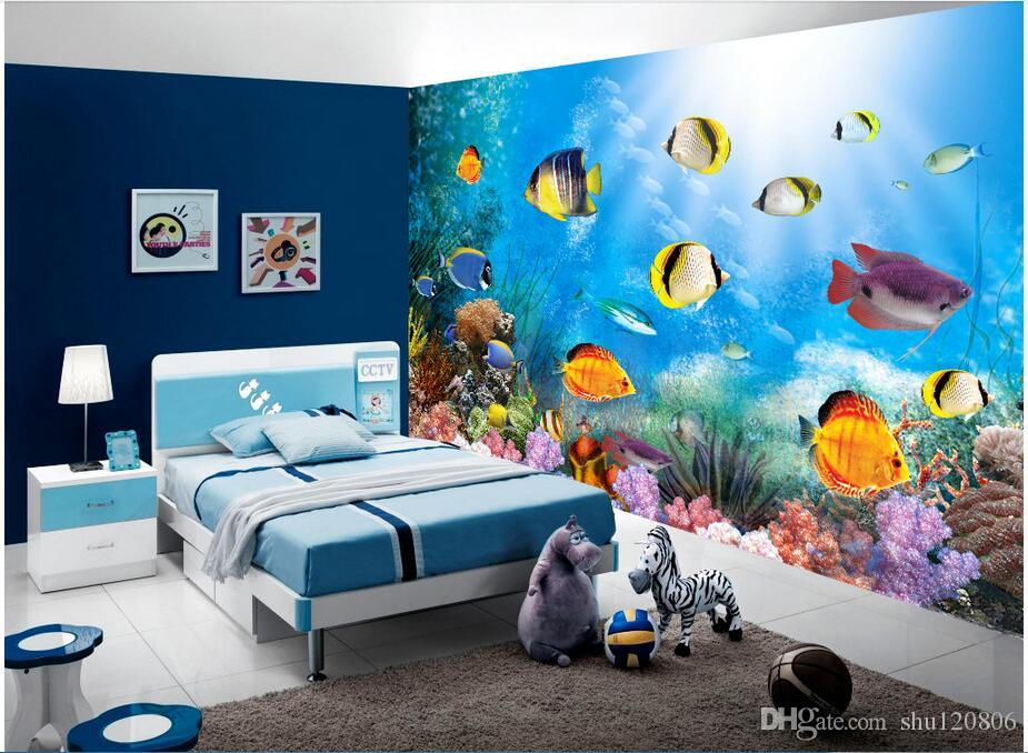 3d обои пользовательские фото нетканые росписи синий океан рыбы в мире украшения живопись 3d настенные росписи обои для стен 3 d гостиная