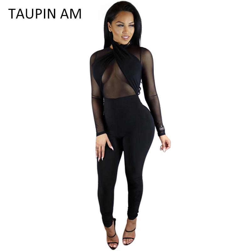 Wholesale- TAUPIN AM Sexy Black Jumpsuit Women Halter Transparent Mesh  Bodycon Bandage Jumpsuit Long Sleeve Rompers Back Zipper Club Wear Sexy  Black ...