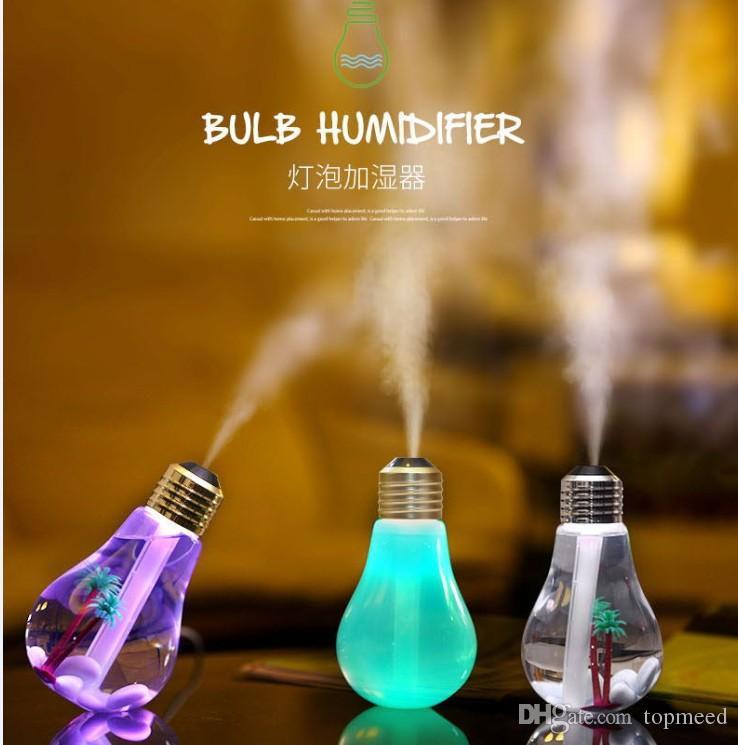 LED-Glühbirne Luftbefeuchter 7 Farbe Nachtlichter Haushaltsluftbefeuchter USB LED Mini Luftbefeuchter, der alte Weisen im Haus wieder herstellt