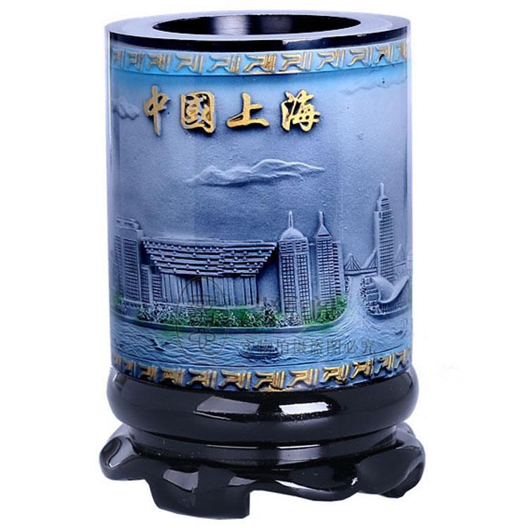 Contenitore di penna girevole di rilievo di cristallo di alta qualità, regalo caratteristico di Shanghai, regalo di affari alla moda, regalo di compleanno