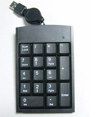 Wholesale-New Black 19 Keys USB Numeric Number Keypad Keyboard For Laptop Desktop PC Tonsee