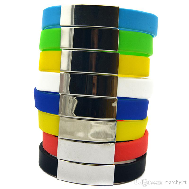 Wholesale Drop Shipping Silicone Wristband Fashion Bracelet with Metal Piece Ornament Great For Benefits Gift