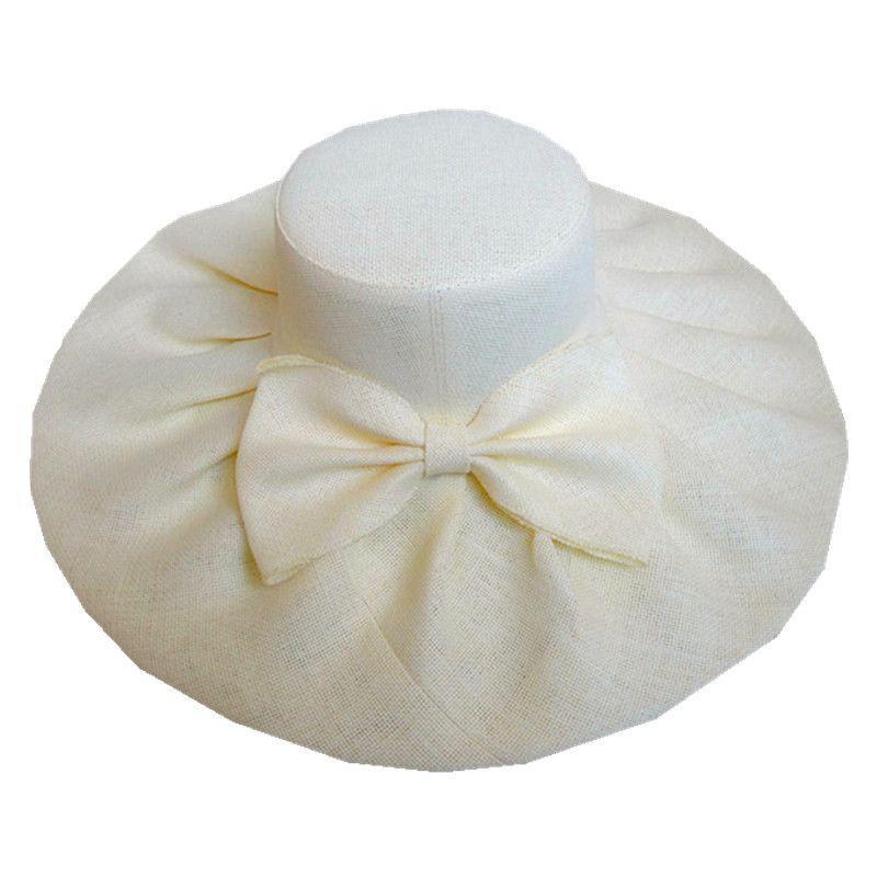 Linen Summer Womens Kentucky Derby Wide Brim Sun Hat Wedding Church Sea Beach Cap