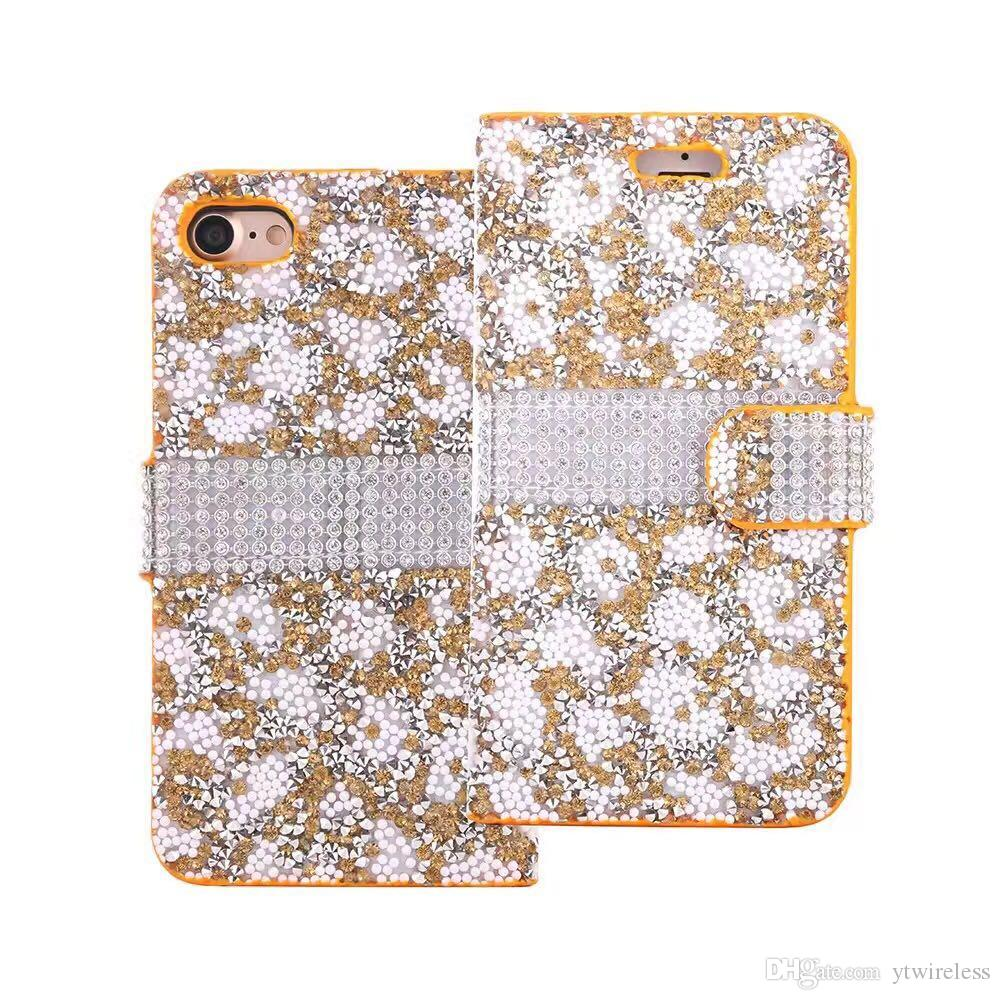Pour iPhone 8 X 7 Plus 6S 5S Haute Qualité Coloré Strass Shinny Wallet Case Glitter Couverture Carte Poche Photo Cadre Opp Sac
