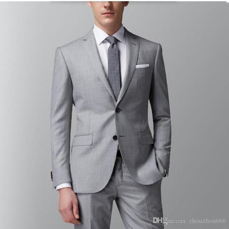 2017 Handsome Man Grey Suit People Wedding The Groom Suit Men'S ...