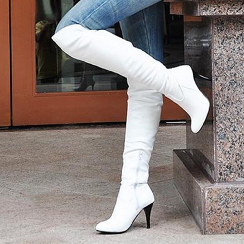 29e01fd28d5af1 Großhandel Großhandel Frauen Stiefel Dünne High Heels Stiefel Frauen Sexy  Über Knie Damen Stiefel Frühling Herbst Schuhe Schwarz Weiße Schuhe Plus  Größe 9 ...