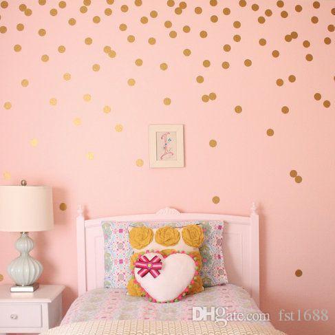 4038 Gold Polka Dots Wall Sticker Baby Nursery Stickers Children Removable Wall Decals Home Decoration Art Vinyl Wall Art