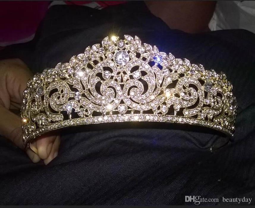 Gold Plated Wedding Crown Bridal Bridesmaid Flower Girls Crystal tiara Rhinestone crown headband Wedding Dress Studio Tiara Molding