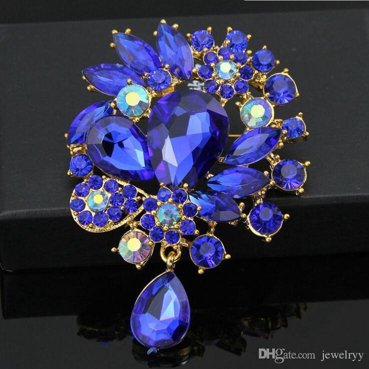 Vintage Wedding Brooch Pins Big Crystal Waterdrop Top Quality Silver Tone Brooches Large Crystal Rhinestone Flower Women Broach Corsage