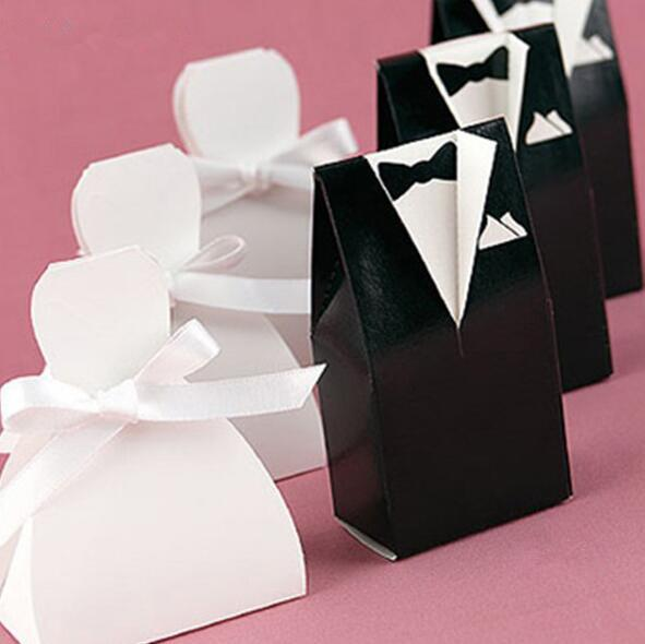 Venta caliente Novia Novio Caja de Dulces Vestido de Boda Titular de Favorecer Mejores Cajas de Regalo de Boda Blanco Negro Vestido de Boda Bolsa de Dulces