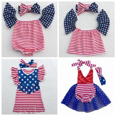 38b0a8810bdd Summer 4th July Dress Baby Set Fourth of July Baby Girls Rompers ...
