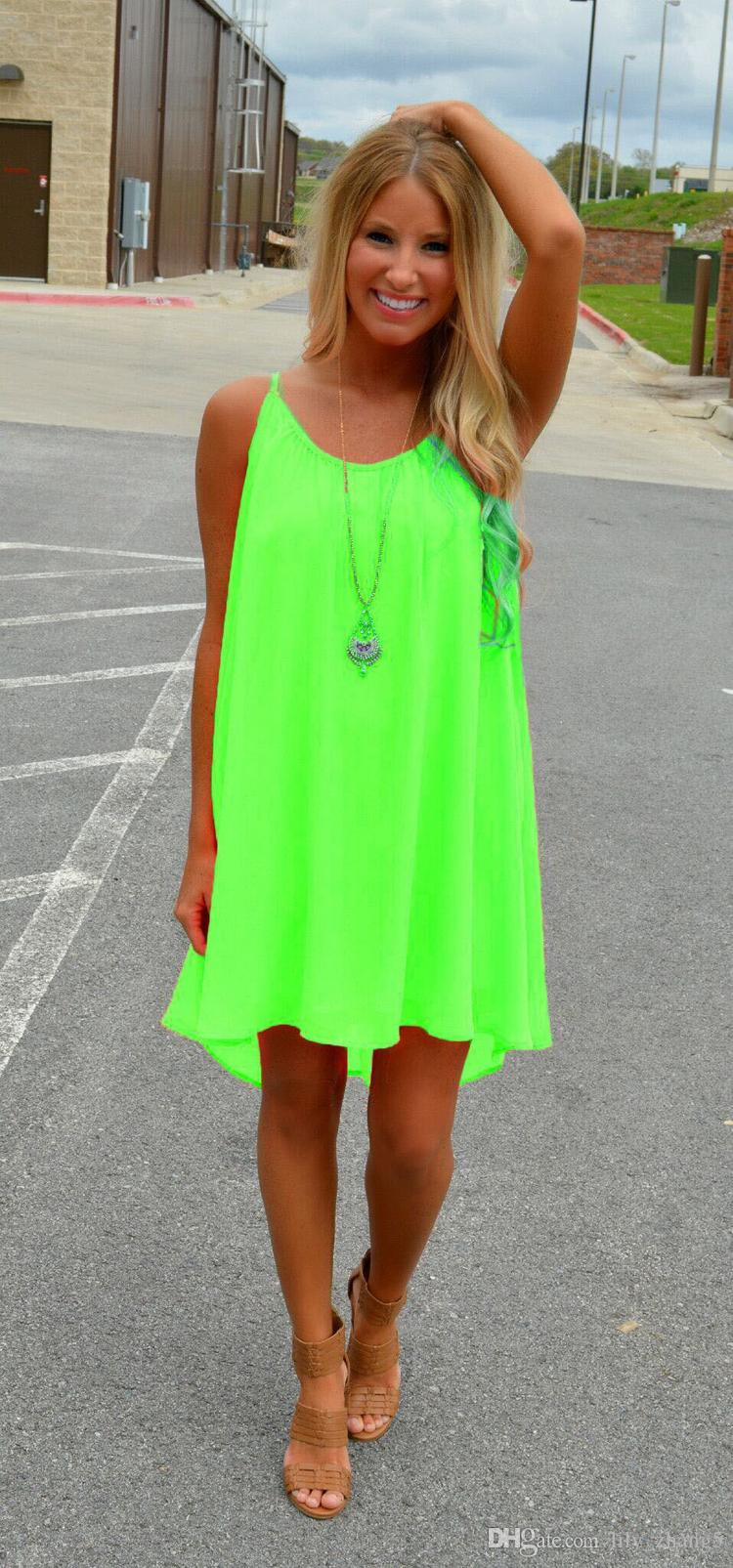 Spedizione gratuita Donne Delle Donne Beach Dress Summer Dress Chiffon Donne Delle Donne Vestito Stile Estate Vestido De Festa Sundress Plus Size Donne Abbigliamento