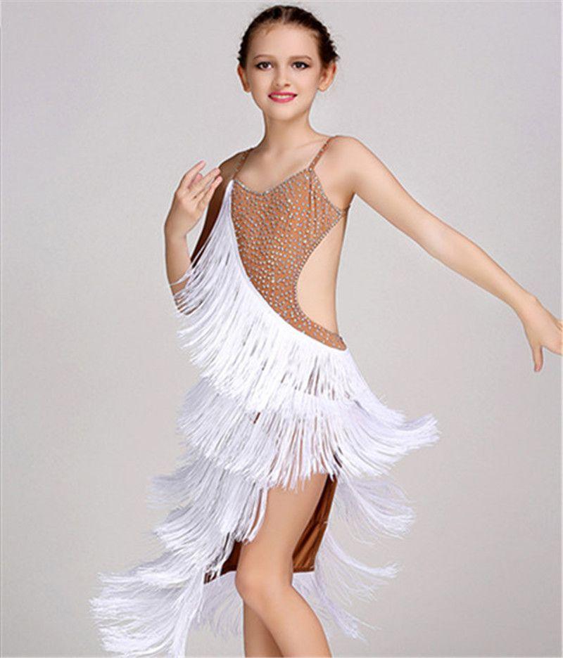 6ad29f8e6c473 2019 White Children Girls Latin Dance Dress Kids Salsa Tango Cha Cha  Ballroom Competition Sexy Strap Rhinestones Tassel Dance Dress From  Sherry_xiao1989, ...
