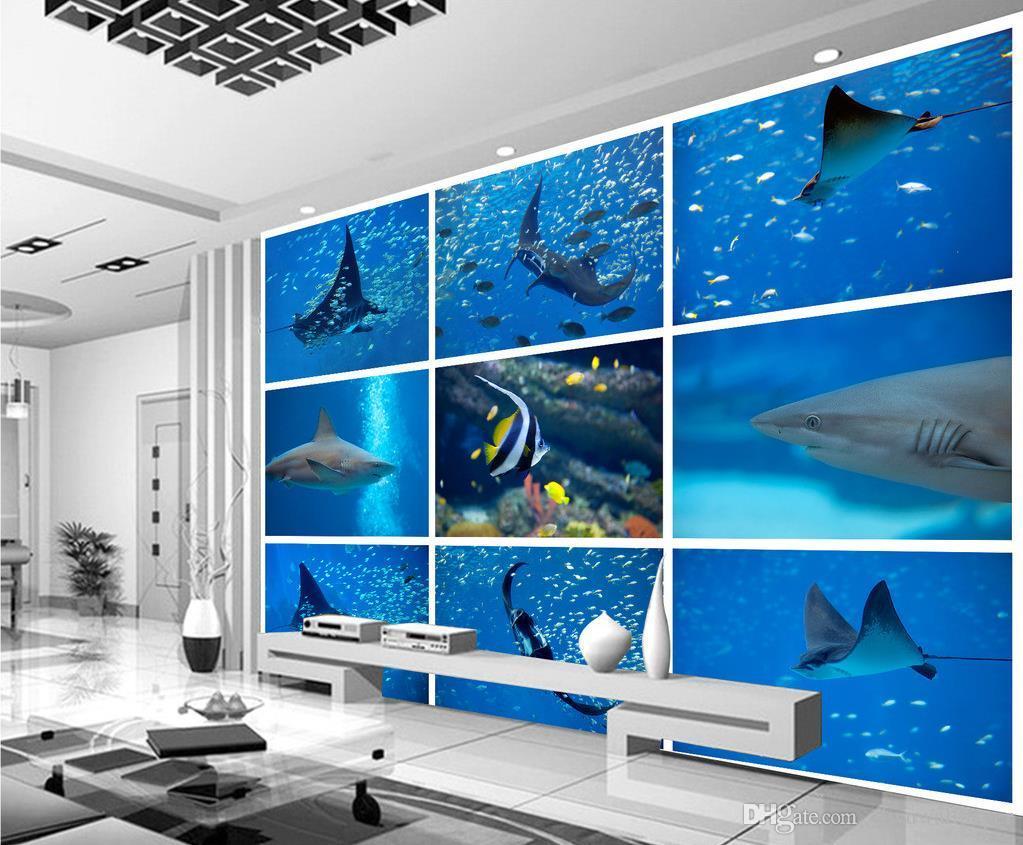 Tropical Wall Murals 3d underwater world shark tropical fish tv wall mural 3d wallpaper