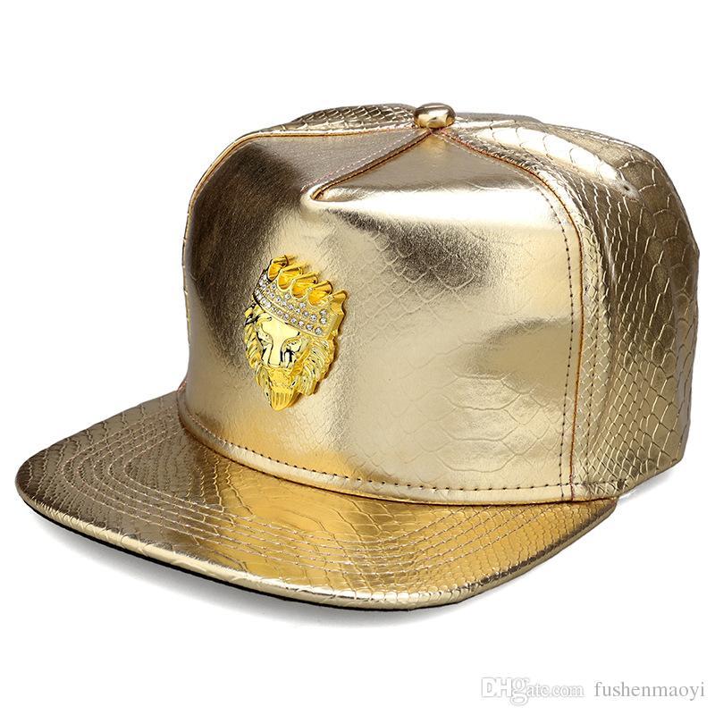 Gorras de hip hop de moda de la divisa del león Gorras de béisbol de los sombreros de los deportes de cuero de la PU hombres de las mujeres equipados sombreros de snapback