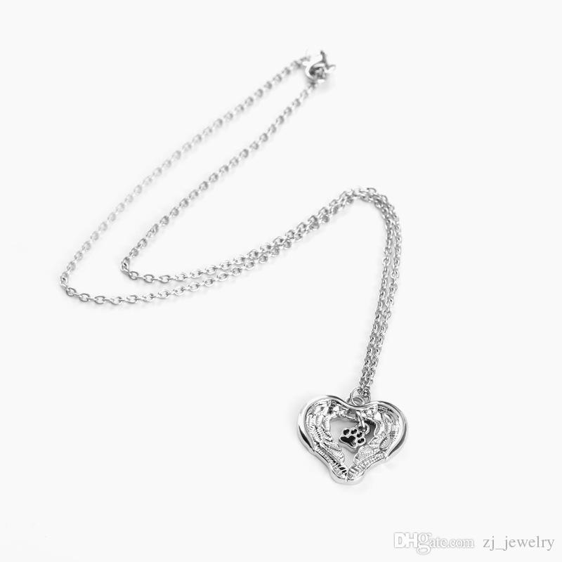 angle Wings protect pet paw print Necklaces Women hollow Charms enamel Necklace commemorate gift for dog cat lover Memorial