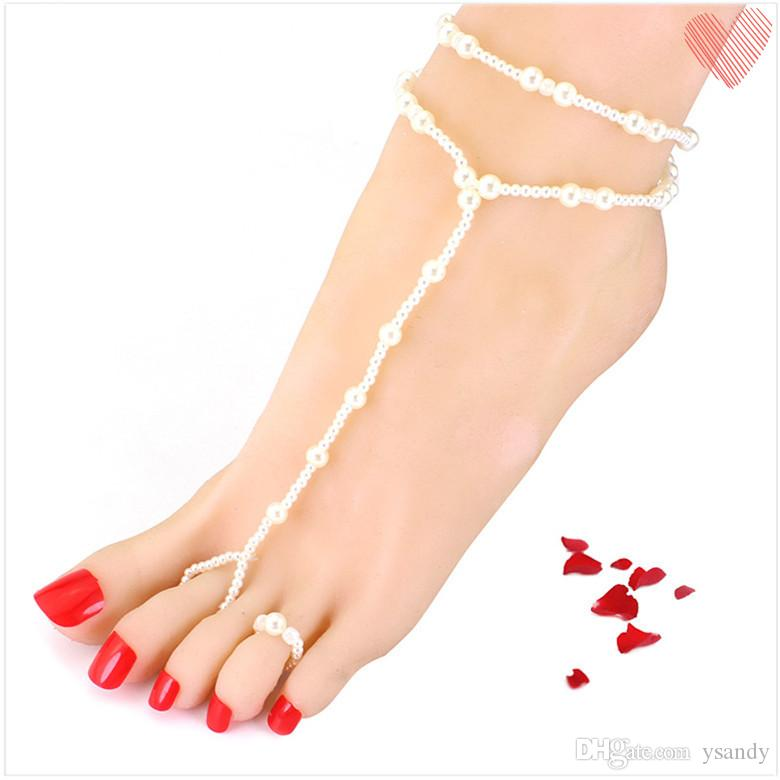 Pearl Anklet Handmade Crystal Beaded Beach Foot Jewelry Toe Chain Anklet for Girls Fashion Summer Jewelry 12 pcs a lot