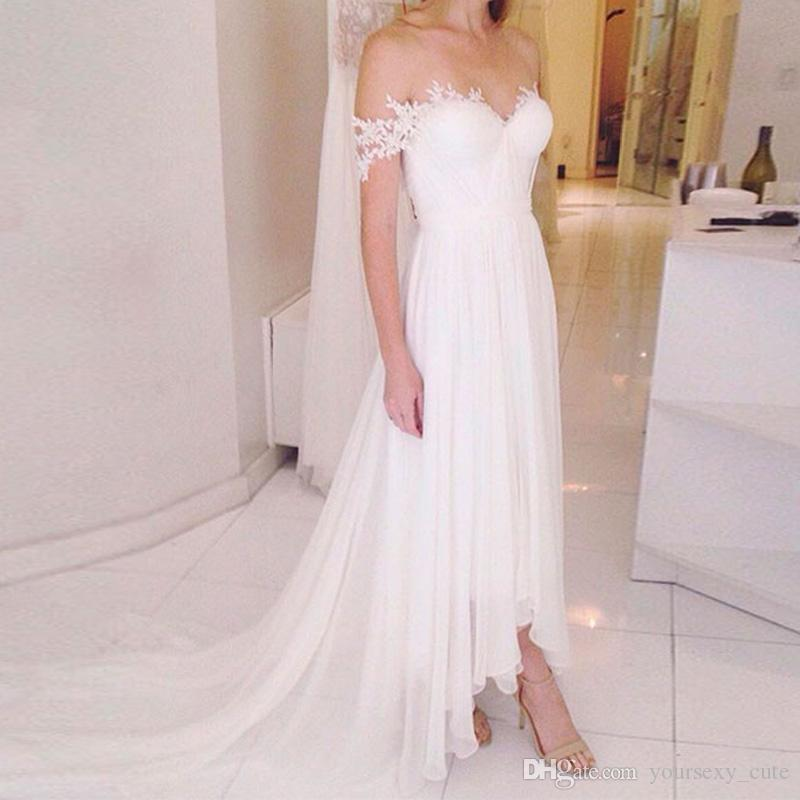 b0fa7955cde9e Discount Off Shoulder Flowy Chiffon Wedding Dresses 2018 Sweetheart Pleated  Appliques Ankle Length Backless Beach Wedding Gowns Bridal Dresses Slim A  Line ...