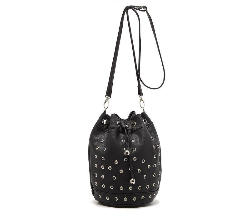 09750037968f Wholesale Drawstring Black Red Leather Mini Bucket Bag Women Rivet Drum  Brand Shoulder Bag Girls Small Punk Stud Crossbody Handbags White Handbags  Satchel ...